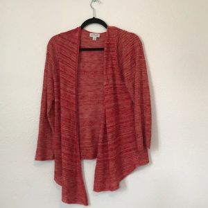 Red knit open front cardigan sweater